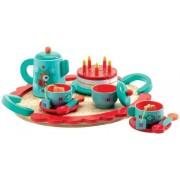 DJECO Drewniany zestaw Przyjęcie urodzinowe - zabawkowy zestaw do herbaty dla dzieci,