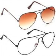 Magjons Fashion Combo Of Orange And Clear Lens Aviator Sunglasses