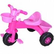 Tricicleta cu pedale pentru copii cheita si cos de cumparaturi Roz Nebunici
