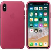 Apple iPhone Leather Case - оригинален кожен кейс (естествена кожа) за iPhone X (розов)