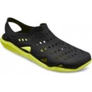 Crocs Men Black/Tennis Ball Green Sandals