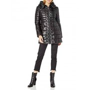 Kenneth Cole New York Puffer ligero con capucha y cremallera 3/4 para mujer, Negro, S