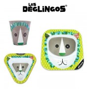 Les Deglingos 3 częściowy zestaw do jedzenia z melaminy dla dzieci Lew Jelekros,