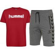 Pachet hummel Ray barbati, bermude + tricou bumbac logo, gri-închis, rosu M