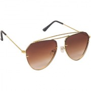 Arzonai Boxy Brown Aviator Shape UV Protected Sunglasses for Men & Women (MA-3333-S4)