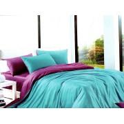 Lenjerie de pat dublu din bumbac satinat de calitate cu 4 piese Textilis in culorile Turcoaz UNI / Mov UNI (2797)