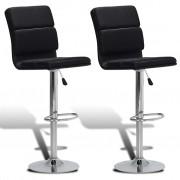 vidaXL Justerbar barstol med snurr och högt ryggstöd, svart konstläder, 2 st.