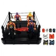 VT Global International Wrestling Toy Figure Play Set w/ Ring 4 Toy Figures 8 Interchangeable Mask/Vest Combos