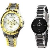 Rosra Gold -Silver and IIK Collection Silver-Black Women Couple watches for Men and Women