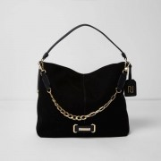 River Island Womens Black chain front underarm slouch bag