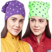 Vimal-Jonney Printed Purple And Printed Green Beanie Cap For Women(Pack Of 2)