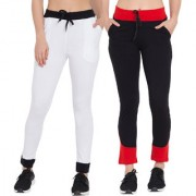 Cliths Women's Cotton Stylish Solid Joggers for Everyday White Black Black Red Lower For Women-Pack Of 2