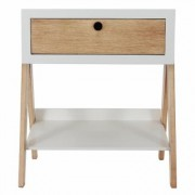 Decor Therapy Bright White Natural Wood Side Table, Bright White and Natural Wood Finish