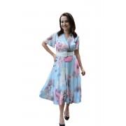 Rochie Naomi,imprimeu floral,multicolor (Marime: 36, Culoare: ALBASTRU DESCHIS)