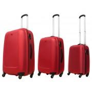 Zestaw trzech walizek ABS01 w kolorze czerwonym - Nowa Kolekcja