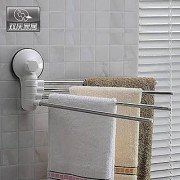 Wall Mounted Suction Cup Stainless Steel Towel Bar Rotatable Towel Rack Holder For Bathroom