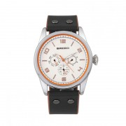 Breed Rio Leather-Band Watch w/Day/Date - Silver/Black-Orange BRD7402