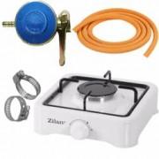 Pachet - Aragaz Zilan Alb Cu un ochi + 2m furtun pentru gaz + 2 x coliere pentru furtunul pentru gaz + Ceas pentru butel