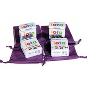 Iota Card Game (Tiny) In Tin Bundle Of 4 Identical Games Bonus 4 Purple Velveteen Drawstring Pouches