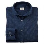 Dorani paisley-jersey-overhemd, 40 cm - donkerblauw