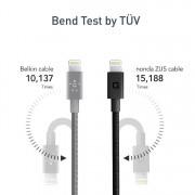 Nonda ZUS 180 Lightning Kevlar Cable - Lightning кабел с оплетка от кевлар за iPhone, iPad и устройства с Lightning порт