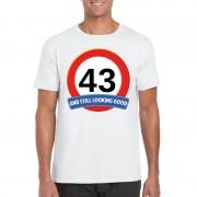 Bellatio Decorations Verkeersbord 43 jaar t-shirt wit heren