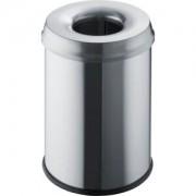 """helit innovative Büroprodukte GmbH """"helit """"""""the guardian"""""""" Edelstahl-Papierkorb, 15 Liter, Sicherheits-Abfallbehälter mit flammhemmendem Löschkopf, Farbe: edelstahl"""""""