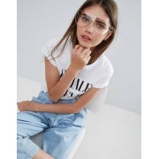 ASOS Rose Gold Visor Geeky Glasses With Clear Lens - Gold