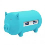 ORICO H4018-U3 Litte Pig HUB 3 Ports USB 3.0 HUB with TF + SD Card Reader(Blue)