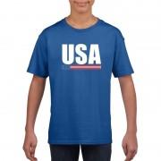 Shoppartners Blauw USA / Amerika supporter t-shirt voor kinderen