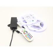 LED szalag szett , 10m RGB szalag + Dimmer , 24 gombos távirányítóval + tápegység