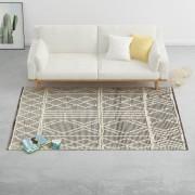 vidaXL Tapis en laine tissée à la main 160x230 cm Noir/Blanc