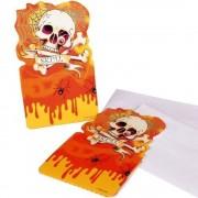 Invitatii de petrecere halloween cu craniu - 9x15cm, amscan rm552095, set 6 buc