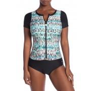 NEXT Tadasana Rashguard Zip One-Piece Swimsuit MINT