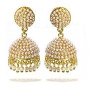 Rabbi Gold plated With Pearl Big Khusi Jhumka Earrings