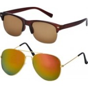 Freny Exim Aviator Sunglasses(Brown, Golden)