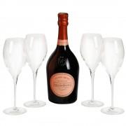 Laurent Perrier cuvee rose 0.75 L + 4 pahare