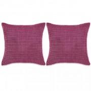 Sierkussenset 45x45 cm velours roze 2-delig