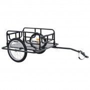 vidaXL Reboque de carga para bicicleta 130x73x48,5 cm aço preto