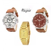 Mark Regal 2 Brown Leather Strap+1 Gold Plated Men's Watches Combo Of 3