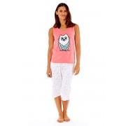 Owl Coral - női pamut pizsama