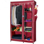 NP NAVEEN PLSTIC Fancy Multipurpose Clothes Closet Portable Wardrobe Storage Organizer with Shelves (Wine Red)
