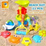 Beach Toys Sandbox Plastic Kids With Cute Animal Model Shovel Rake Bucket Set Outdoor Water Sand Playing Tool Kids Beach Game