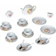 Set serviciu de ceai aspect realist model cu floricele 21 piese multicolor 3 ani +