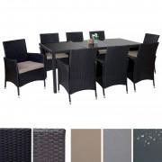 Poly-Rattan-Garnitur Terni, Garten Sitzgruppe Tisch + 8 Sessel, Alu ~ Variantenangebot