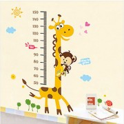 Walltola Cute Giraffe Height Chart Wall Sticker (20X28 Inch)