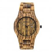 Bewell Retro Bamboo Zebra Wood Watch