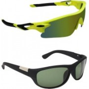 Zyaden Sports, Wrap-around Sunglasses(Multicolor, Black)