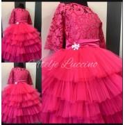Pink roze raskosna haljina sa cipkom