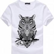 Unisex Elegante patron en 3D de algodon de manga corta camiseta - Blanco (M)
